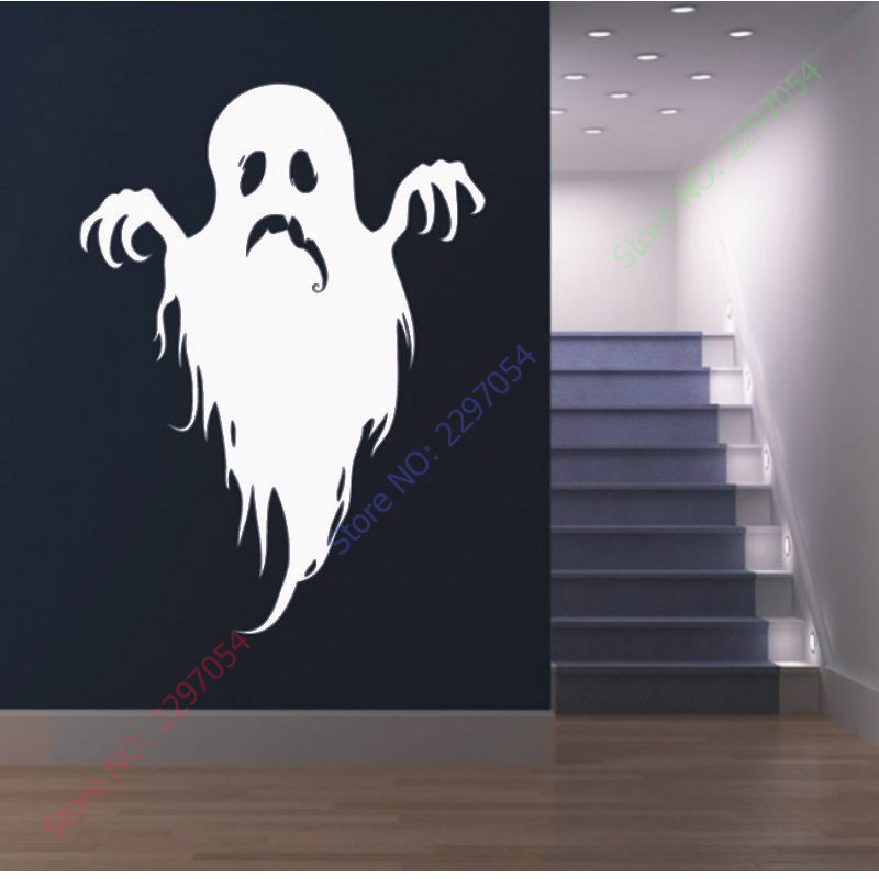 buy ghost halloween decorative wall stickers affixed to the glass shop window. Black Bedroom Furniture Sets. Home Design Ideas
