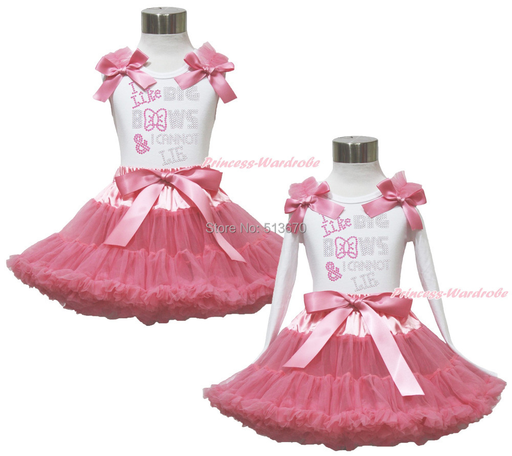 Rhinestone I Like Bows White Pettitop Top Shirt Dusty Pink Bow Pettiskirt Dress Set 1-8Y MAPSA0536 baby golden brown pettiskirt golden ruffle brown bow white top shirt set 3 12m mapsa0289