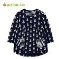 2016 новая футболка новорожденных девочек одежда мультфильм точка кролик рубашка с длинными рукавами весна осень дети хлопок одежды KU1109