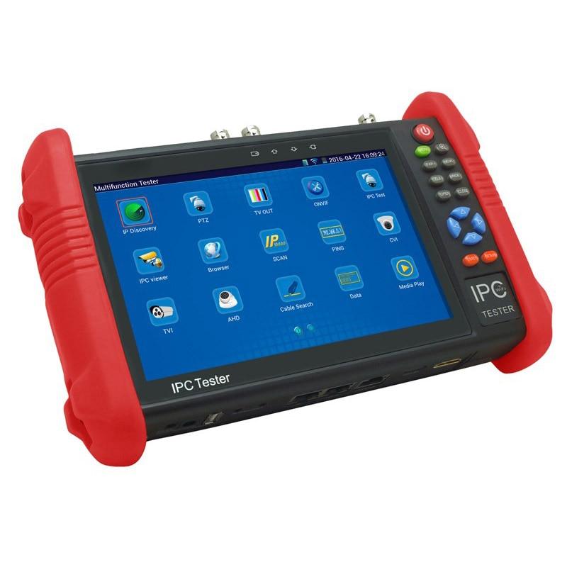 New 7 Inch Five In One CCTV Tester Monitor IP HD AHD CVI TVI Analog Cameras Testing 1080P WIFI Onvif PTZ Control POE 12V Output