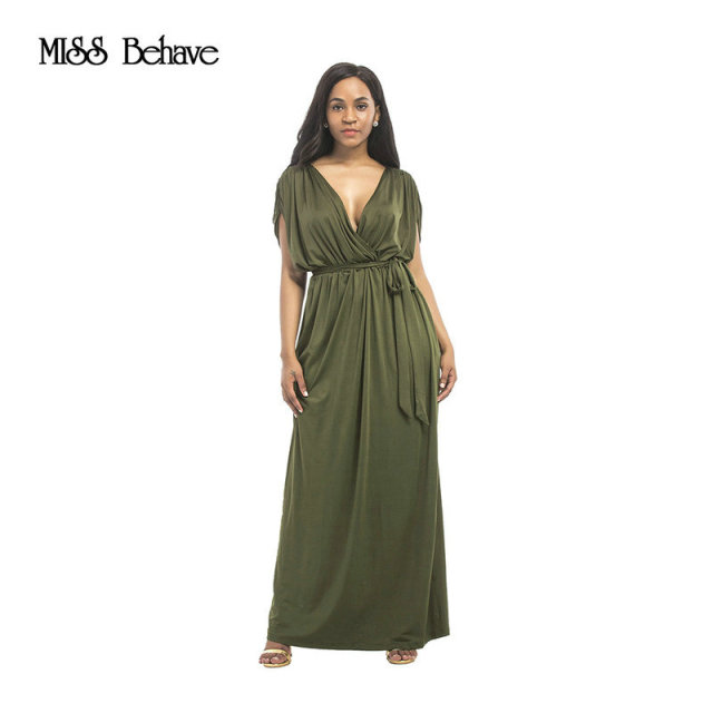 3b562ccb023 MISS Behave Sexy Women Summer Dress Batwing Dress Deep V-Neck Maxi Long  Dresses Party Evening Full Gown Belt Vestidos Femininos
