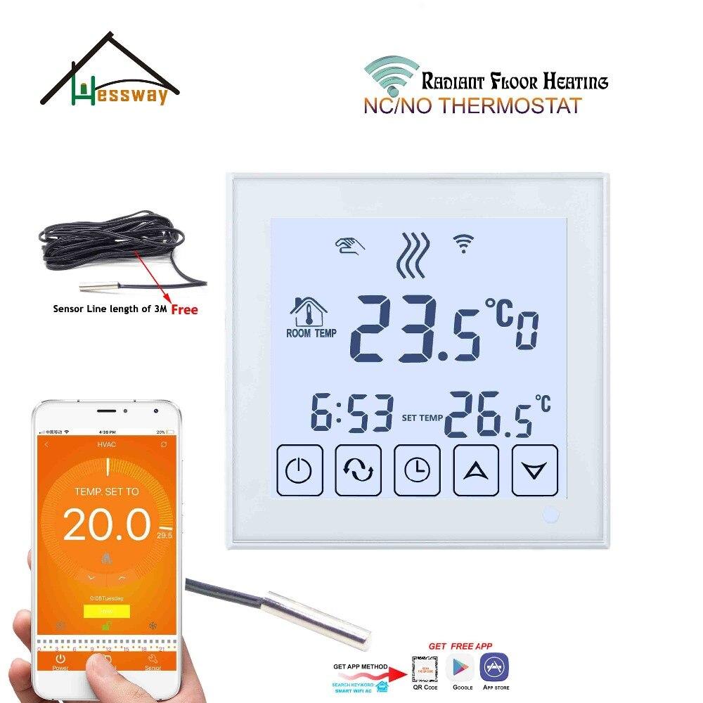 ЕС крепление 3A пол с подогревом температурный термостат управление Wi Fi нет, NC для Белый Черный дополнительно