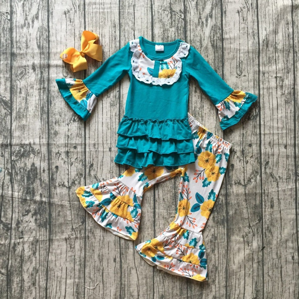 new Fall/winter baby girls children clothes jade yellow floral flower ruffles cotton long sleeve outfits boutique match cilp bow new girls outfit be a flamingo floral coral mint kids boutique shorts sets ruffles cotton clothing match with accessories