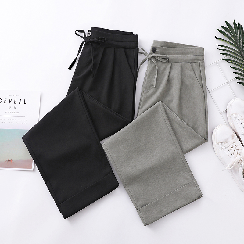 Plus Size 4XL Casual Women Trousers 2019 Summer   Wide     Leg     Pants   Loose Bow Drawstring Female   Pant   Brand Solid Color Brand Capris