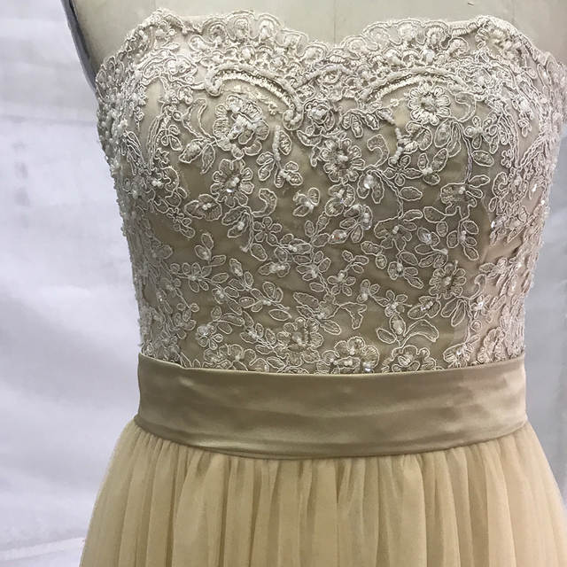 e2ed3e11cf Champagne Lace Bridesmaid Dresses Long Elegant Prom Dress Wedding Guest  Dresses Beads Tulle Robe Demoiselle d'honneur Plus Size