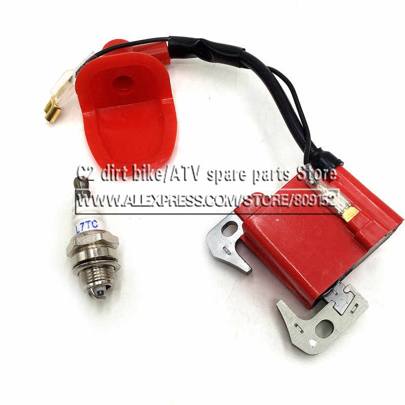 Performance Red IGNITION COIL for 43cc 47cc 49cc Mini Quad Pocket Dirt Bike ATV 2-Stroke Engine part with L7T spark plug