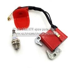 Bobina vermelha de ignição, para 43cc 47cc 49cc mini quad pocket bike atv 2 tempos peça do motor com vela de ignição l7t