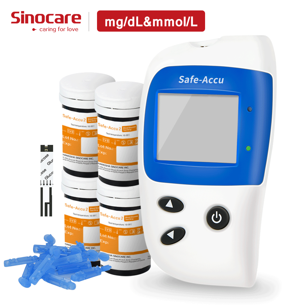 (Mg/dL VS 33.3mmol/L) sinocare Seguro Accu2 Exata Glicosímetro & 100 Medidor de Glicose No Sangue Tiras De Teste 100 Lancetas Teste de Açúcar No Sangue Diabetes