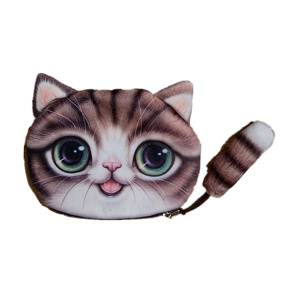 2018 New Girls Small Cartoon Cat Face Coin Purse Children Lovely Cat Tail Zipper Coin Purse Wallet Women Purse Coin Wallet