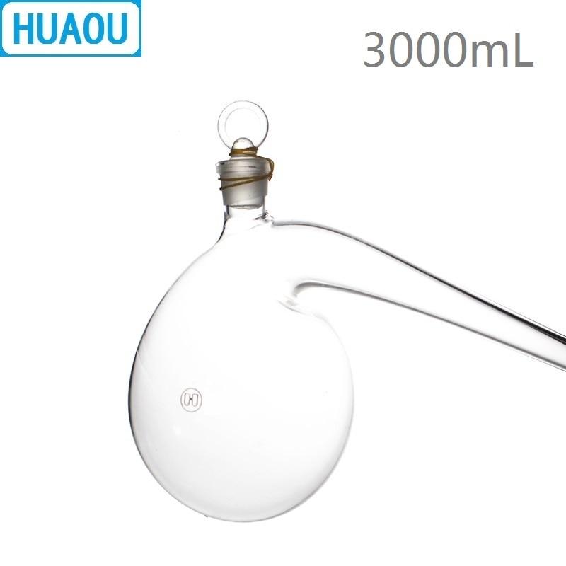 HUAOU 3000mL Retort with Ground in Glass Stopper 3L Borosilicate 3 3 Glass Distillation Distilling Flask
