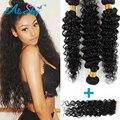 Peruvian Curly Hair 3 Bundles with Closure Bob Curly Weave Human Hair Extensions Deep Curly Peruvian Virgin Hair with Closure