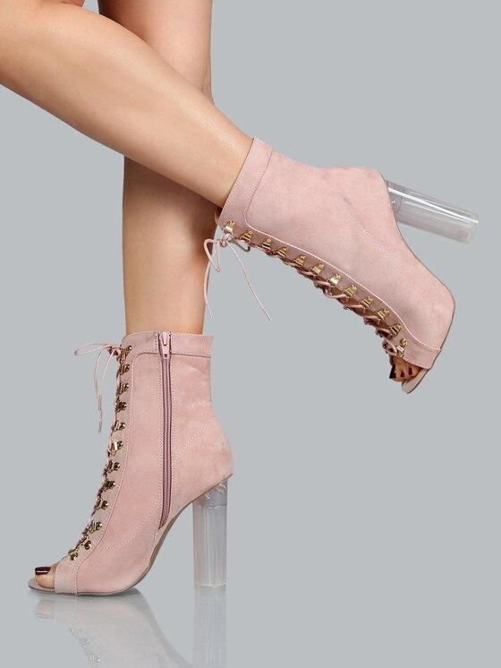 Lacets Rose Bottines Chaussures En Bout Femmes Ouvert Sangle La Chunky Daim Bloc Mode Croix Habillées Talon Claire À 084Eqf