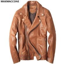 2018 Yellow Men Motorcycle Leather Diagonal Zipper Genuine Sheepskin Men Winter Slim Fit Short Motorcycle Coat