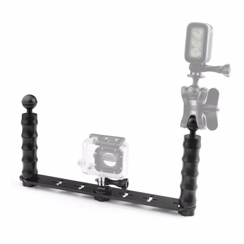 De poche Selfie Manfrotto Plongée Sous-Marin Montage + LED Éclairage D'appoint pour GoPro 3/3 +/4/5 Xiaomi yi SJ4000 SJ5000 SJ6000 Caméra