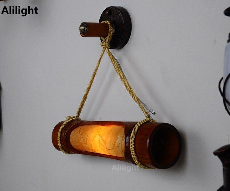 Stile cinese antico lampada da parete di bambù di legno applique da