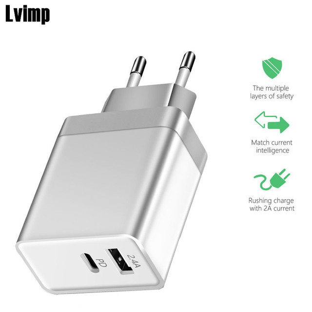 best service 88c0c 74876 US $9.99 20% OFF USB PD Type C Wall Charger Power Adapter with Power  Delivery for iPhone XR XS Max X 8 7 Plus Xiaomi Mi 8 MIX 2s USB C PD  Charger-in ...