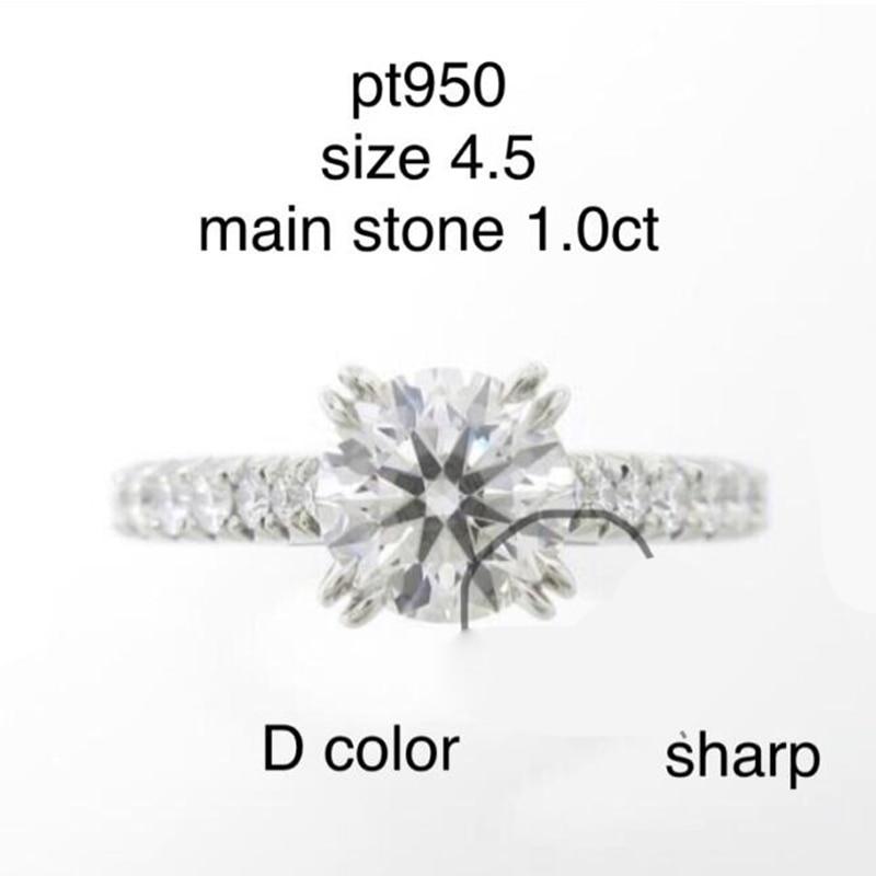 DF Moissanite Diamond 1 CT Engagement Ring met side Moissanite Stenen in PT950-in Ringen van Sieraden & accessoires op  Groep 1