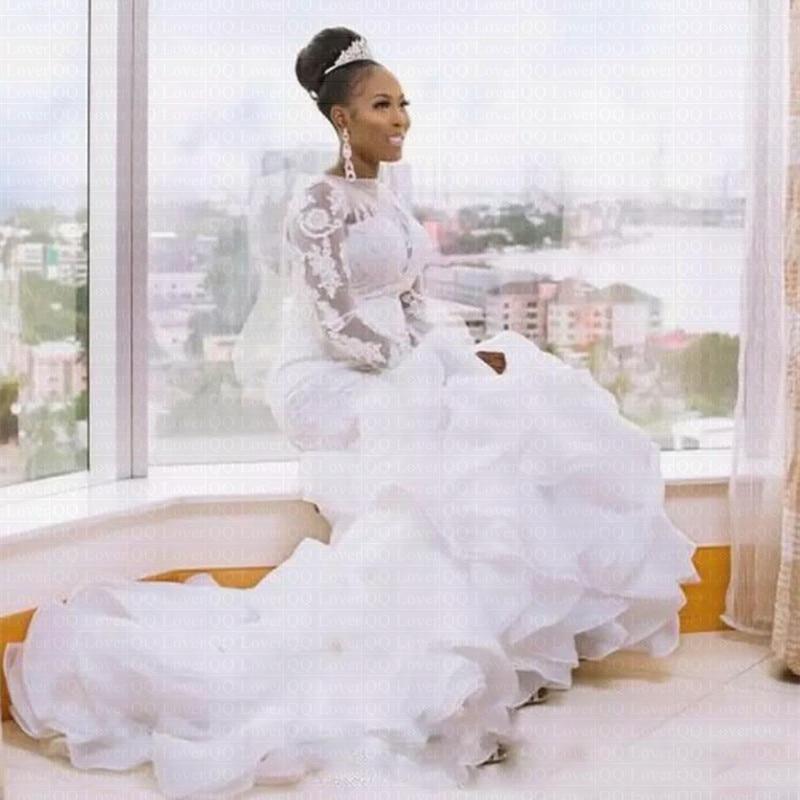 2019 New African Organza Ruffles Mermaid Wedding Dress Long Sleeves Bridal Gowns