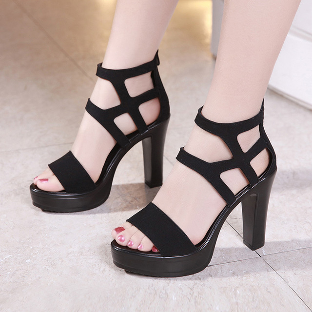 c8062d18b3 New Open Head Black Shoes Block Heel Gladiator Sandals Women High Heels  Sandals 2019 Sexy Zip Platform Sandals for Party Office