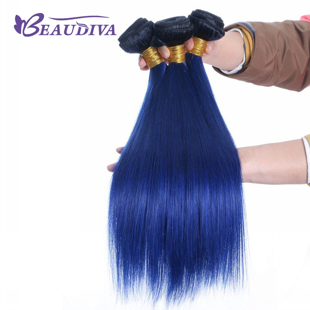 Beaudiva Pre Colored T1b Blue Color Remy Hair Straight 3 Bundles