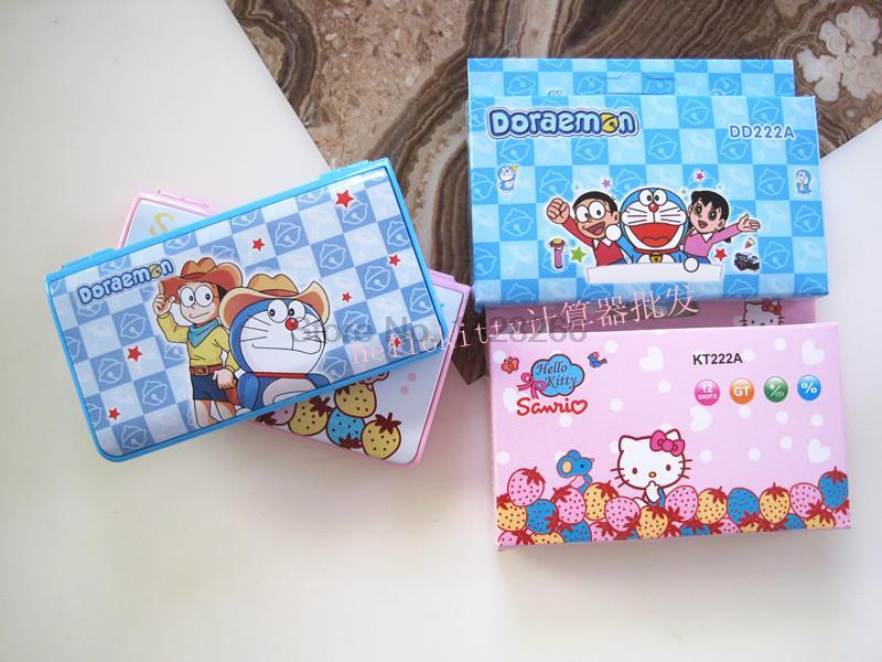2016 Hot Sale 12 digits mini pocket cute hello kitty calculator Doraemon Calculators flip Calculadora Kawaii Gifts