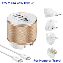 4-Port Travel USB Charger with 5V/3A 15W USB-C and 5V/2.4A for Nintendo Switch, Google Pixel, Lumia 950,Oneplus & More