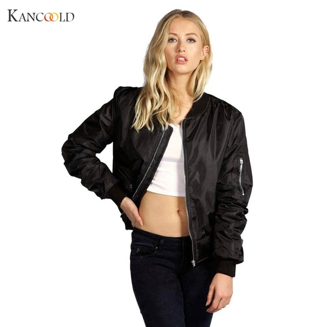 de7536f94dcd Newly Bomber Jacket Women Basic Coats Celeb Bombers Stand Collar Zip Up  Short Black Autumn Coat Jackets Chaquetas Mujer Oc22GBY