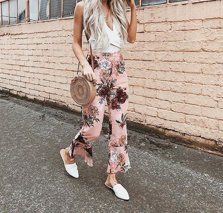 BKLD Vintage Women Floral Printed Pink Trousers Fashion Female Summer   Wide     Leg     Pants   2018 New Office Lady Working Pantalon Femme