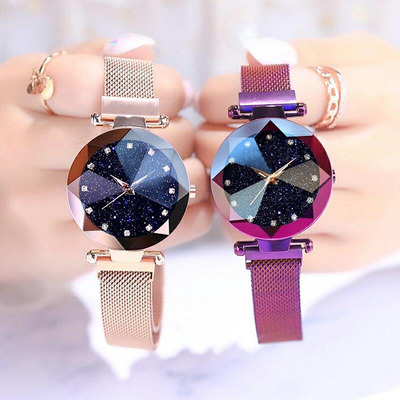 luxury ladies font b watch b font magnet mesh with starry luminous fashion diamond female quartz