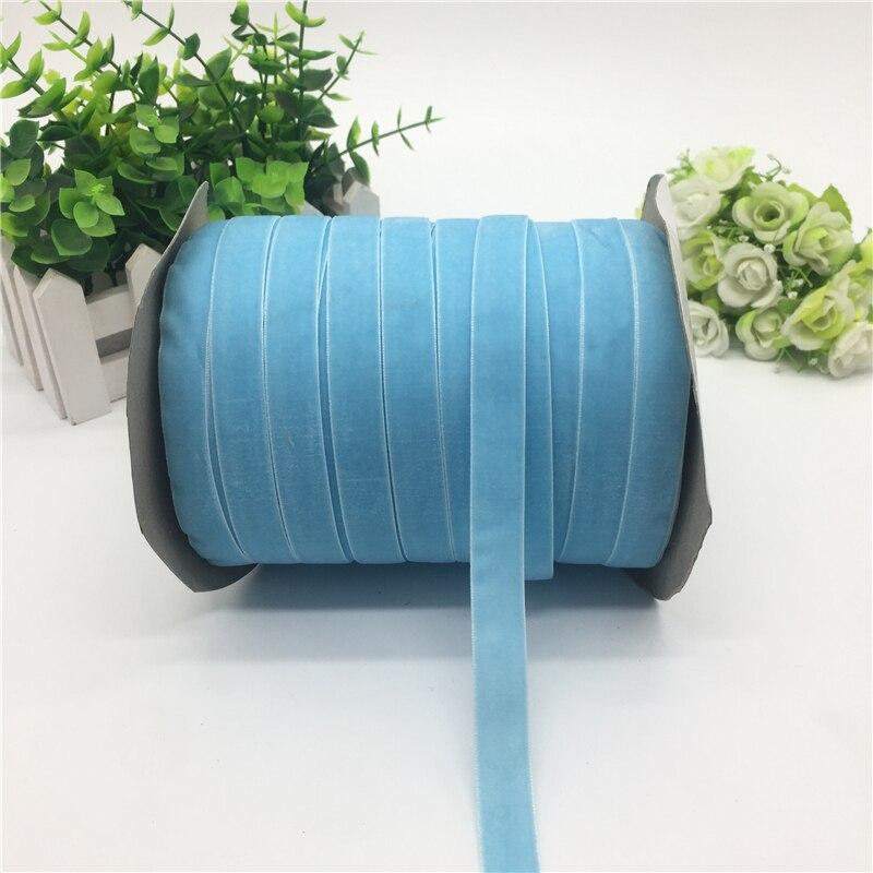 """5 ярдов 5/""""(15 мм) бархатная лента для украшения свадебной вечеринки лента ручной работы подарочная упаковка бантик для волос DIY Рождественская лента - Цвет: Sky Blue"""