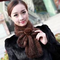 New Arrival Women Scarves Winte Knitted Real Mink Fur Scarf For Women Warm Winter Fur Scarves Wraps Mink Shawl QS014