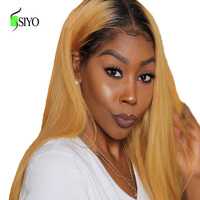 SIYO Малайзии прямые парик два тона Синтетические волосы на кружеве парики для Для женщин 13X6 Ombre кружева Fontal человеческих волос 150% парик из на