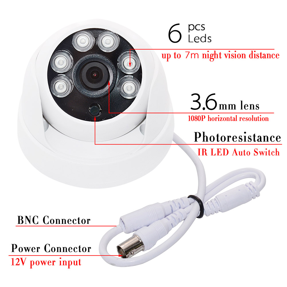 Newly One Set Dome CCTV Camera with 6pcs LED 1080P HD Indoor 2.0MP Night Vision