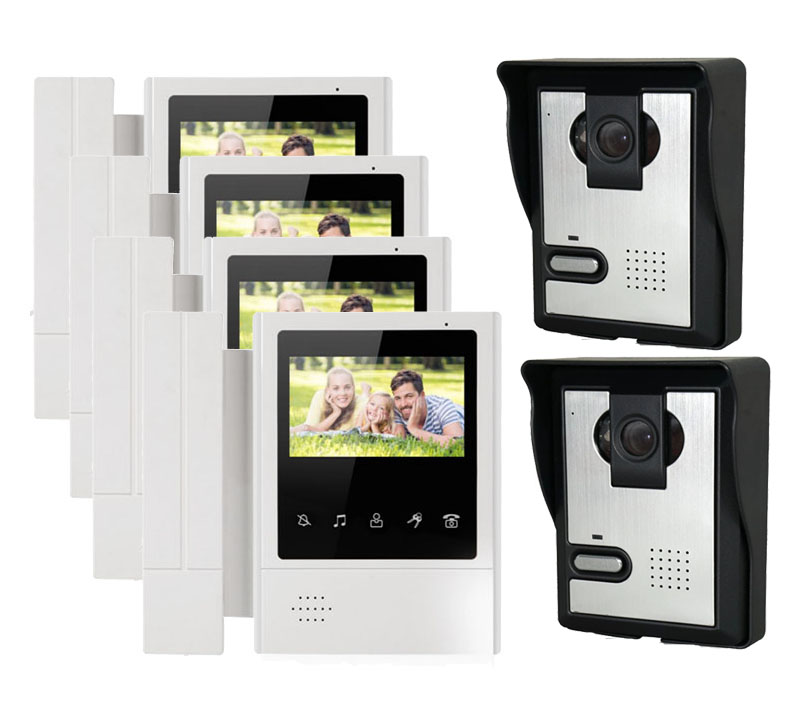 XINSILU Home security intercom system doorbell 4-wired night vision 4X4.3 high resolution video door phone monitor+2 HD cameras