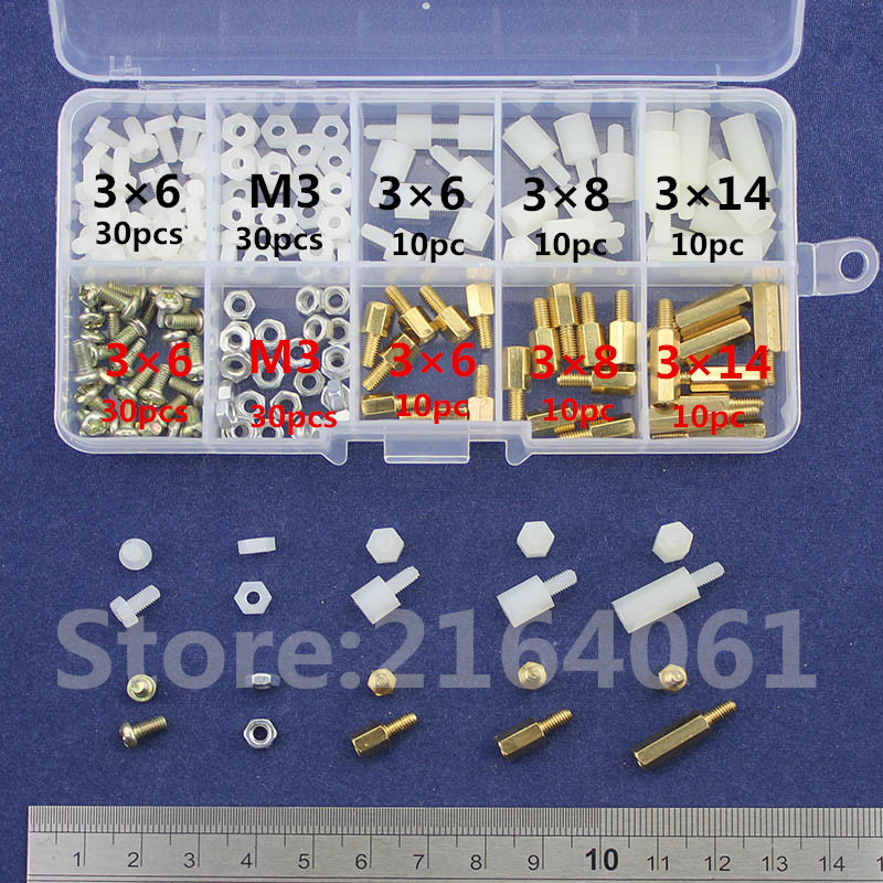 NEW M3 Brass/Nylon Spacer Standoff / Screw / Nut  Male Female PCB Board Screw Assortment Platter Kit Set  #M3