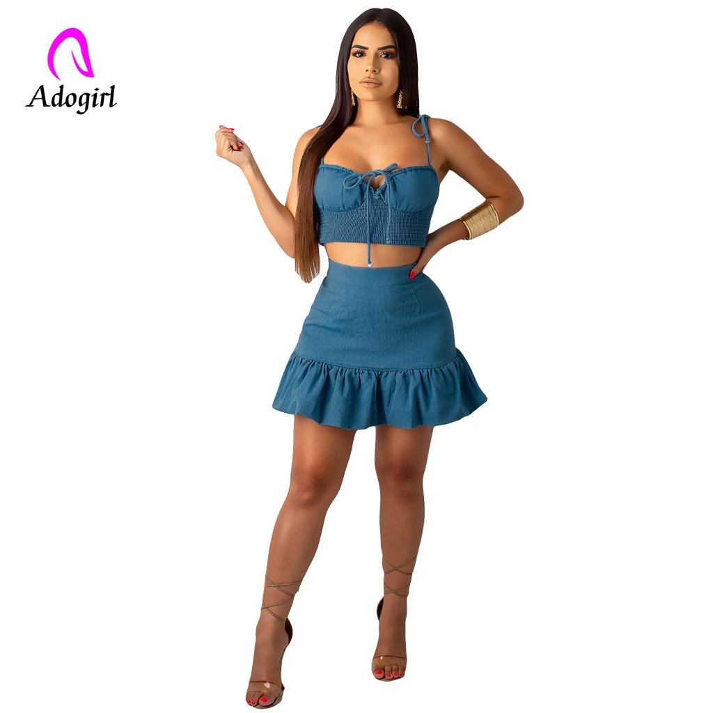 Adogirl Navy Blue Women Sets Ruffles Skirts Summer 2 Piece Set Crop Top Short Mini Skirt Two Sexy for