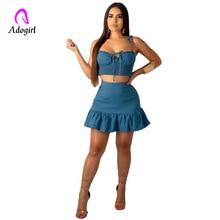 Adogirl Navy Blue Women Sets Ruffles Skirts Summer 2 Piece Set Crop Top Short Mini Skirt Two Piece Set Sexy Skirt Set for Women navy sexy rose embroidered crop top