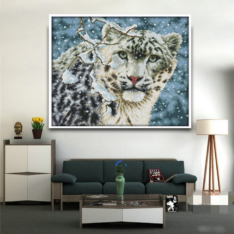 Free Ship Snow Leopard Counted Cross Stitch DMC 11CT 14CT Cross - Arts, Crafts and Sewing - Photo 1