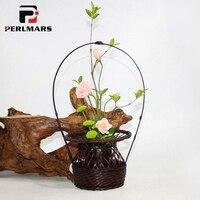 Китайский стиль Цветочная композиция цветочный горшок творческий ручной бамбука ткачество Цветочная корзина настольные украшения Винтаж