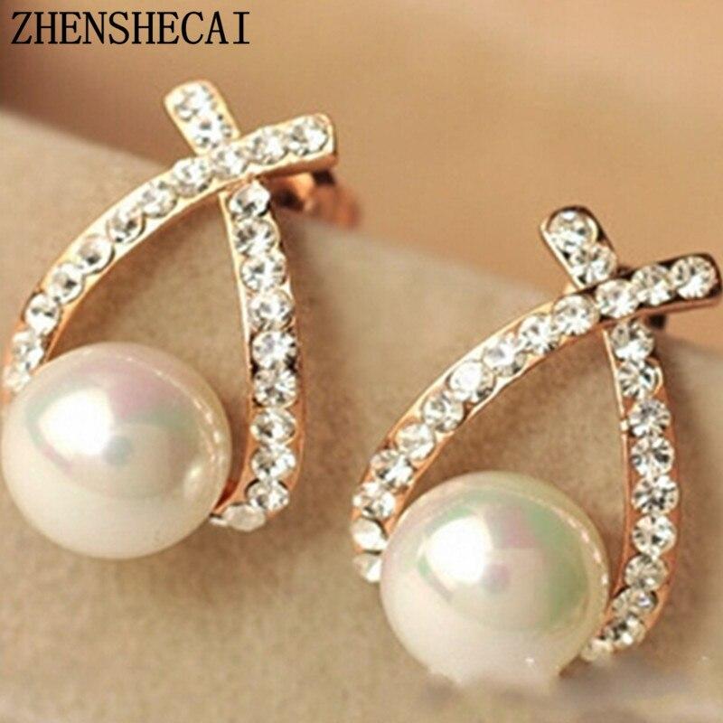 18e78b851e1b Cheap Joyería de la nueva marca de diseño de Color oro perla Stud pendientes  para las