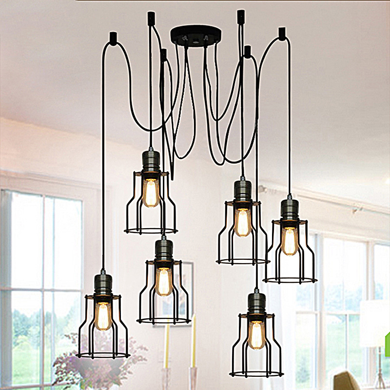 Retro Spider American living room pendant lights black birdcage restaurant suspension lamp indoor bedroom Loft lighting fixtures retro country pendant lights loft vintage lamp restaurant bedroom dining room pendant lamps american style for living room