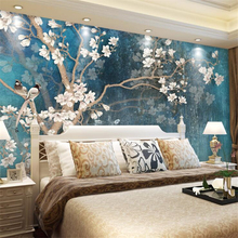 Papel de pared wellyu papel tapiz personalizado Vintage pintado a mano Pared de flores de magnolias nórdico Retro Azul elegante lienzo behang