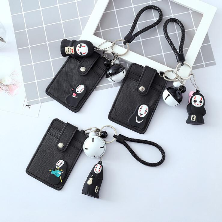 3 Jockey PU Leather Double Side Cartoon Spirited Away No Face Man Bell Rope Card Holder Keychain Bus Bank Card Protection Case