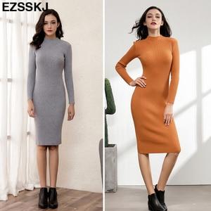 Image 3 - Ôm Nữ Thu Đông Midi Áo Len ĐầM Sexy Bodycon Đầm Dài Tay Áo Dây Đầm Chắc Chắn Cơ Bản Đầm Dệt Kim Chắc Chắn