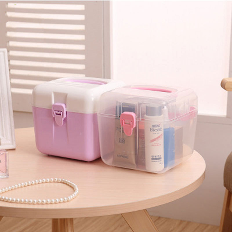AIBAN Portable Multifunction Plastic Cosmetic Organizer Makeup Storage Holder Box with Handle Travel Home Organizer Accessories