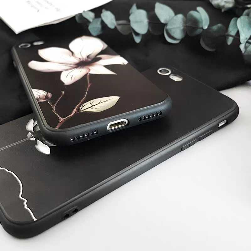 ดอกไม้สีแดงดอกไม้สีดำสำหรับ Funda Xio mi xiao Mi mi A1 mi a1 MI a2 กรณีสำหรับ xiao mi mi A2 lite สำหรับสีแดง Mi 6 pro case