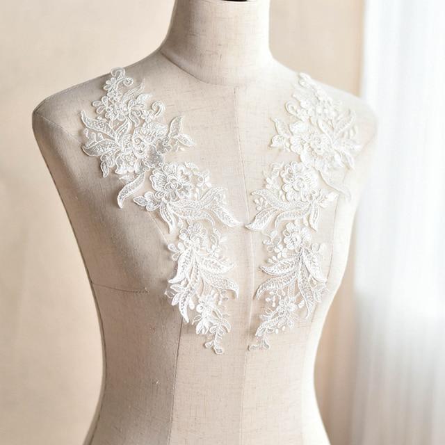 2PCS Embroidered Lace Applique Handmade DIY Wedding Dress Accessories  Patches Off White Color 2de13ce67977