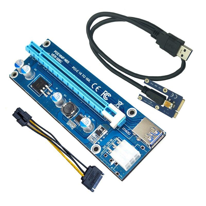 Mini PCI-E PCI Express Card de Riser PCIE 1x a 16x ranura USB3.0 Cable de datos SATA a 6Pin de suministro para la minería de Bitcoin