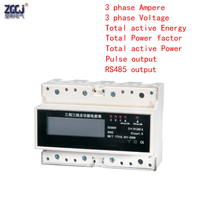 3x380V kwH meter AC 3 phase 3 wire multifunction LCD energy meter with Pulse output with RS485 function dispay A,V,Hz,kwh,kw,cos