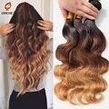 Estilo de la estrella 6a Brasileño de la virgen del pelo onda del cuerpo del pelo Ombre extensión 4 bundles brasileño onda del cuerpo natural negro y rubio pelo